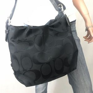 COACH Black Signature Jacquard Duffle Bag #15067